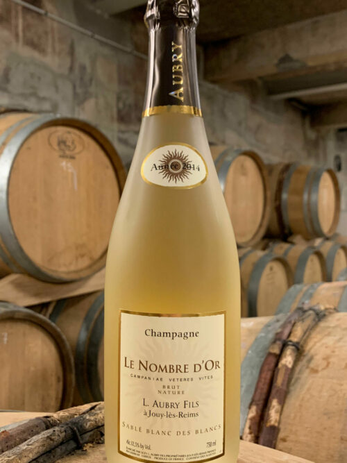 Bouteille de CHampagne Aubry Le Nombre d'Or Sablé Blanc des Blqncs Millésime 2014